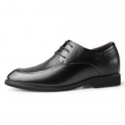 Black Hidden Taller Hollow Out Leather Oxfords Breathable Elevator Business Formal Shoes Height 2.4inch / 6cm