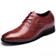 Elegant height shoes taller 2.4inch / 6cm reddish brown men business shoes