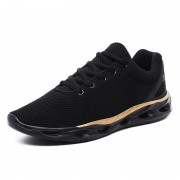 Black-Gold Elevator Flyknit Trainers Low Top Trendy Running Shoes Increase Height 2inch / 5cm