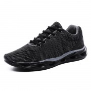 Black-Grey Elevator Flyknit Trainers Low Top Trendy Running Shoes Look Taller 2inch / 5cm