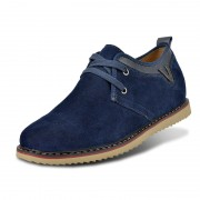 Blue suede leather height increasing casual shoes grow taller 6.5cm / 2.56inches