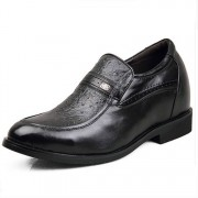 Britpop Fake Ostrich Elevator Leather Dress Shoes Get taller 8cm / 3.15inches Height Increasing Dress shoes