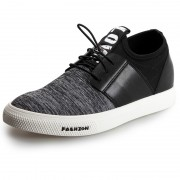 Quality lace up elevator canvas casual shoes 2.6inch / 6.5cm Grey
