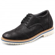 Classic Brogue Casual Shoes Increase Height 2.6inch / 6.5cm Black Lightweight Faux Suede Elevator Shoes