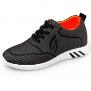 Lightweight Elevator Fabric Shoes Taller 2.4inch / 6cm Grey Lace Up Casual Shoes