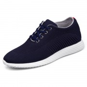 Ultralight Elevator Flyknit Trainers Shoes Navy Hidden Heel Racer Shoes Height 6.5cm / 2.6inch