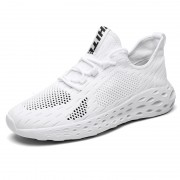 Breathable Hidden Height Workout Shoes White Flyknit Elevator Walking Shoes Get Taller 2.6inch / 6.5cm