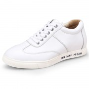 Height taller skateboard shoes 6cm / 2.4inch white cowhide elevated casual shoes