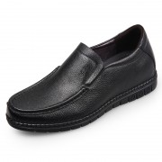 Soft Calf Leather Elevator Casual Loafers Black Stitching Flat Shoes Add Height 2.4inch / 6cm