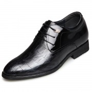 Elegant taller tuxedo shoes 2.6inch / 6.5cm lace up emboss elevator dress shoes