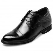 Perforated Cap Toe Elevator Dress Shoes 2.6inch / 6.5cm Black Brogue Taller Formal Oxford Shoes