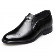 Versatile Wing Tip Elevator Shoes Black Slip On Brogue Formal Oxfords Increase 2.6inch / 6.5cm