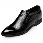 Patent Leather Stitched Elevator Dress Loafers Taller 2.8inch / 7cm Cap Toe Slip On Formal Shoes