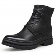 Clearance Modern Elevator Combat Boots Woolen Men Taller Military Shoes Side Zip Army Boot Height 7cm / 2.8inch