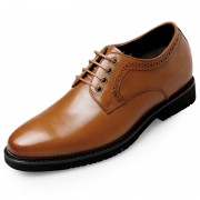 Lightweight Taller Men Busines Formal Shoes 2.8inch / 7cm Yellow-Brown Height Increasing Office Shoes