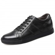 Premium Calfskin Elevator Skateboarding Shoes Black Business Casual Shoes Taller 2.6inch / 6.5cm