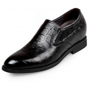 Black Crocodile Pattern Elevator Dress Shoes Height 2.6inch / 6.5cm Slip On Taller Formal Shoes