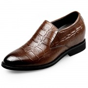 Brown Crocodile Pattern Elevator Dress Shoes Taller 2.6inch / 6.5cm Slip On Formal Loafers