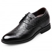 Superior Men Taller Dress Shoes Height 2.6inch / 6.5cm Woven Pattern Elevator Formal Shoes