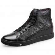 High Top Hidden Heel Sneaker Shoes Height 2.2inch / 5.5cm Calfskin Elevator Walking Shoes