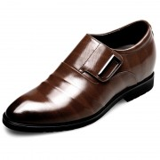 Stylish Velcro Elevator Formal Loafers Taller 2.6inch / 6.5cm Brown Slip On Dress Shoes