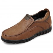 Low Top Elevator Driving Shoes 2.4inch / 6cm Brown Nubuck Leather Casual Height Increasing Loafers