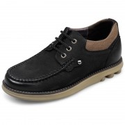 Outdoor Shock Absorbing Casual Elevator Shoes 2.4inch / 6cm Black Nubuck Leather Taller Wide Shoes