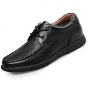 Soft Calfskin Leather Casual Elevator Shoes 2.2inch / 5.5cm Black Lace Up Wide Taller Shoes