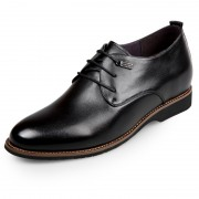 Premium Hidden Heel Plain Toe Oxford Gain Taller 2.6inch / 6.5cm Black Lace Up Elevator Formal Shoes