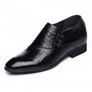 Korean business formal boat shoes 6.5cm / 2.56inch black silp on taller dress shoes