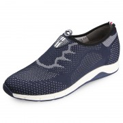 Trendy flyknit shoes add height 6cm / 2.36inch lightweight blue slip on casual shoes