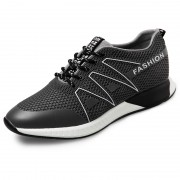 Ultra light elevating lace up sneakers 2.4inch / 6cm grey casual outdoor shoes