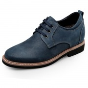 Fashion lace up elevator casual shoes blue nubuck leather taller shoes 3inch / 7.5cm