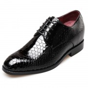 Python embossed men elevator party dress shoes 2.6inch / 6.5cm Black