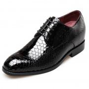 Python embossed men elevator party dress shoes 2.6inch / 6.5cm Black