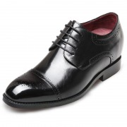 Exquisitely cap toe wing tip height elevator dressy wedding shoes 2.6inch / 6.5cm