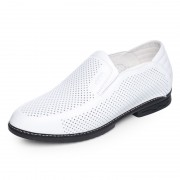 Breathable height increasing boat shoes 6cm / 2.36inch white soft cowhide formal sandals