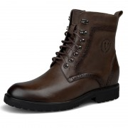 Retro cowhide height martin boots wool warm outdoor chukka boot taller 7cm / 2.8inch Brown