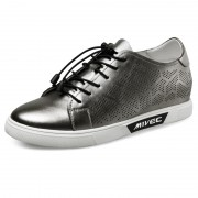 Breathable height increasing skate shoes 2.4inch / 6cm silver elevator sneakers