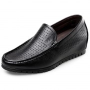 Soft Leather Elevator Sandals Taller 2.4inch / 6cm Black Perforated Beach Loafers