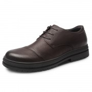 Brown Nubuck Leather Height Shoes Cap Toe Elevator Casual Shoes Increase 2.6inch / 6.5cm