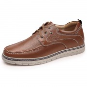 Korean Simple Elevator Casual Shoes Brown Genuine Leather Business Shoes Increase 2.4inch / 6cm