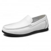 White Comfortable Height Increasing Loafers Soft Cowhide Slip On Driving Shoes Taller 2.2inch / 5.5cm