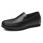 Black Comfortable Hidden Lift Loafers Soft Cowhide Slip On Driving Shoes Gain Taller 2.2inch / 5.5cm