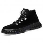 Black Height Increasing Hiking Shoes High Top Trekking Walking Shoes Gain Taller 2.6inch / 6.5cm