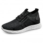 Comfortable Elevator Knit Sock Sneaker Dark-Grey Hidden Lift Running Shoes Increase 2.4inch / 6cm