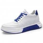 Black-Blue Taller Platform Skateboarding Shoes Leather Casual Sports Shoes Add Height 2.8inch / 7cm