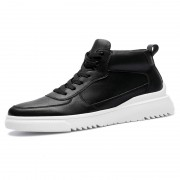 Black Elevator High Top Sneakers Daily Casual Men Skateboarding Shoes Look Taller 2.8inch / 7cm