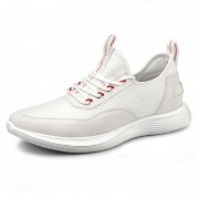 Hollow Out Comfortable Elevator Sneakers White Mesh Running Shoes Look Height 2.4inch / 6cm
