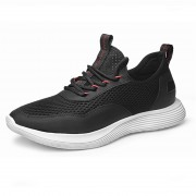 Hollow Out Comfortable Elevator Sneakers Black Mesh Running Shoes Increase Taller 2.4inch / 6cm